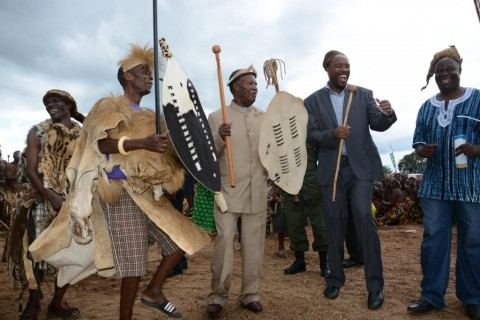 Paramount Chief Mpezeni (l) with President Sata during Nc'wala ceremony - picture by Emma Nakapizye