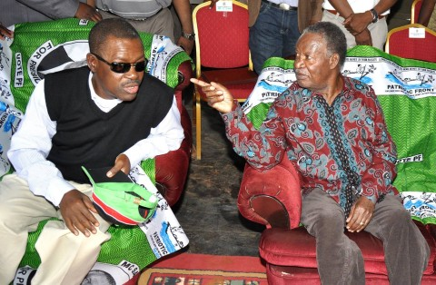 President Michael Sata Justice minister Wynter Kabimba (l) during a rally to drum up support for Katuba Constituency PF parliamentary candidate Moses Chilando -Picture by THOMAS NSAMA