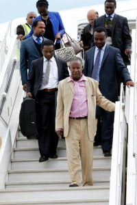 President Michael Sata alights from Emirates plane at Kenneth Kaunda International Airport from London -Pictures by EDDIE MWANALEZA ---