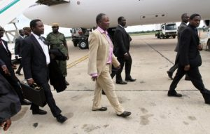 President Michael Sata on arrival at Kenneth Kaunda international airport -Picture by EDDIE MWANALEZA