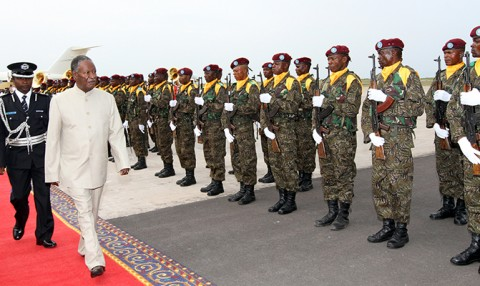 President Sata inspects a presidential guard of honour at N'Djili International Airport in Kinshasa, Democratic Republic of Congo, on arrival yesterday. – Picture by EDDIE MWANALEZA.