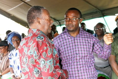 President Sata with George Chellah during a rally in Katuba -Picture by EDDIE MWANALEZA