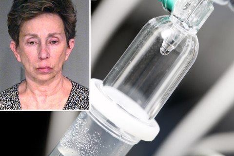 Rosemary Vogel (inset) is accused of trying to poison her husband with a feces IV drip.