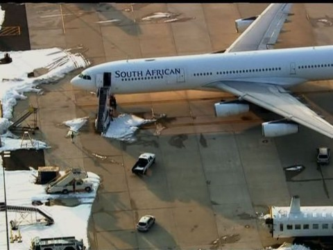 South African Airways plane parked at Washington Dulles International Airport