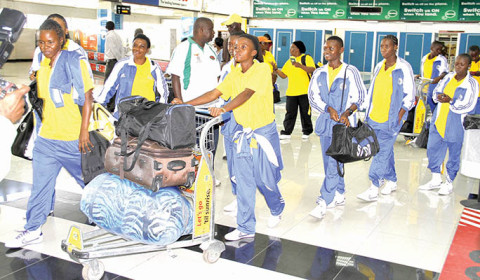 TANZANIA women's national team players on arrival at Kenneth Kaunda International Airport – Picture by MACKSON WASAMUNU