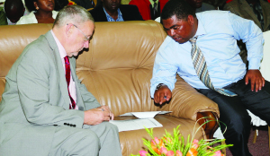 VICE-PRESIDENT Guy Scott (left) discusses with Central Province Minister Obvious Mwaliteta in Itezhi-Tezhi yesterday. Picture By STEPHEN KAPAMBWE