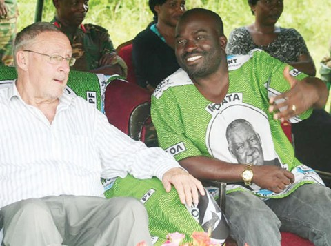 VICE-PRESIDENT Guy Scott (left) with Moses Chilando, the PF candidate in the Katuba parliamentary by-election, during a public rally at Chipeso Primary School in Katuba yesterday. – Picture by SUNDAY BWALYA