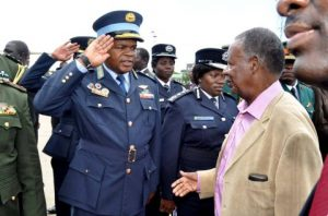 ZAF Commander Lt Gen Chimese salutes when President Sata arrived at Kenneth Kaunda International Airport from London on Feb 8,2014 -Picture by THOMAS NSAMA