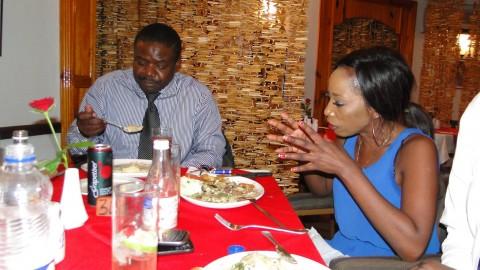 ZNBC DG Chibamba Kayama treats ZMA winners DJ Dazzle and Lady MC @ Marlin Restaurant.
