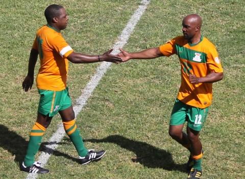 AFCON 1996 danger men. Kalusha congratulates Andrew Tembo