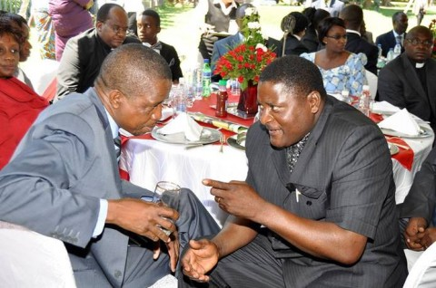 Home Affairs Minister, Dr. Ngosa Simbyakula ® with Defence Minister, Lungu (L)