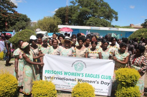 Zambia Prisons Service Women`s Eagle Club pose for a photo during the women`s day celebratio