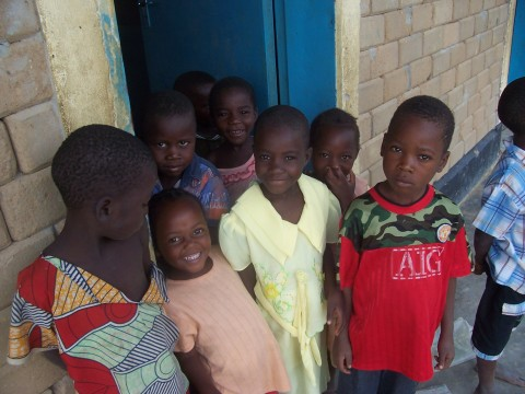 Children gather to start their school day at an Early Childhood Development Center in Zambia.