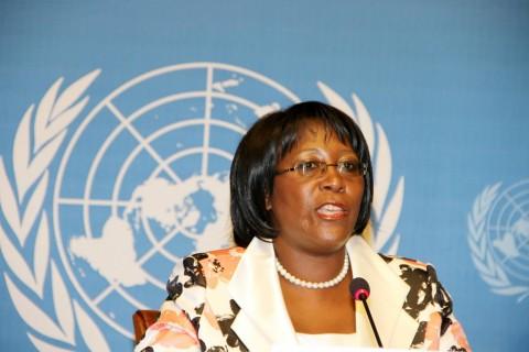 First Laady Dr Christine Kaseba addresses the Media at UN Building in Geneva, Switzerland