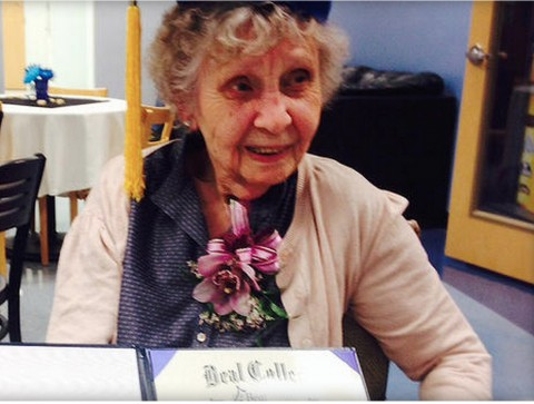 Jessie Rose White holds her long-sought college diploma from Beal College in Maine. ALLEN STEHL:BEAL COLLEGE.
