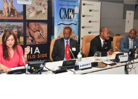 L-R: Ms. Carole Marchal, Dr. Joseph Katema,Dr. Uchenna Ekwo, and Mr. Chibaula Silwamba, Head of Press and Public Relations, Permanent Mission of the Republic of Zambia to the United Nations