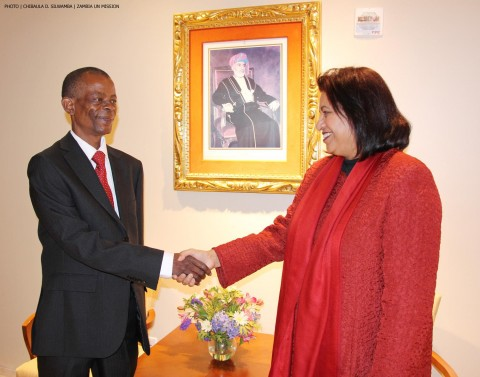 Lyutha Sultan Al-Mughairy with Minister of Information and Broadcasting Services Dr Joseph Katema