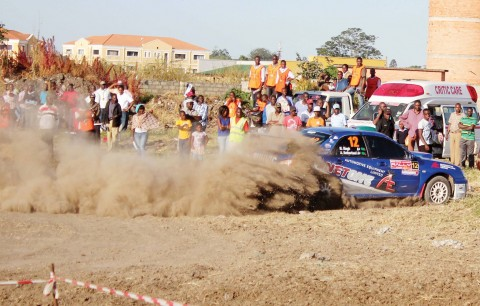 MUNA Singh jr battling it out in the Airtel Money Zambia International Rally at Lusaka's Show grounds. – Picture by COLLINS PHIRI.