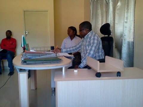 Malole MP paying a Cutesy Call on Mungwi District Commissioner Joyce Chanda
