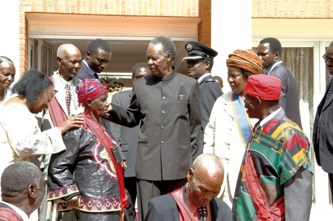 PRESIDENT Sata (centre) with honourees after the investiture ceremony at State House to mark Africa Freedom Day. – Picture by MACKSON WASAMUNU