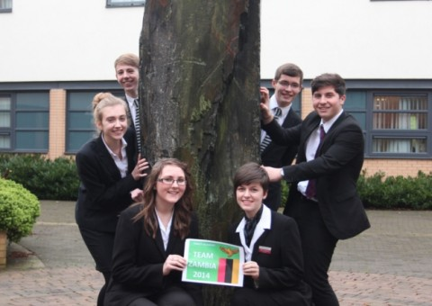 Pictured are Trinity Academy students (L-R, clockwise from top left) Matthew Elwood, James Quean, Dale Smith, Abbie Tomlinson, Nikita Watkins and Madeline Peacock who are heading to Zambia this summer