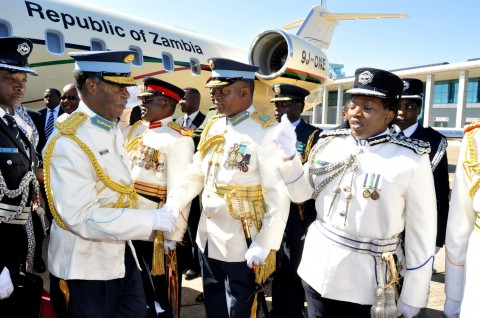 President Sata greets Service chiefs on arrival the ZAF commissioning Parade in Livingstone on May 9,2014 -Picture by THOMAS NSAMA