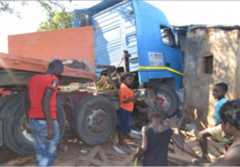 THIS Volvo truck crashed into a sitting room of a house in Masala Township in Ndola yesterday morning. Picture by CHATULA KAMPO