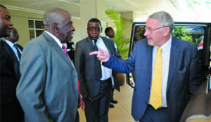 VICE-President Guy Scott talks to professor Chintu after a ZACCAF meeting at Southern Sun Ridgeway.