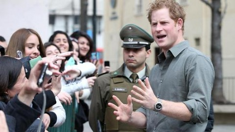 Getty Images Prince Harry meets members of the public outside Valpariso Firestation on June 28, 2014 in Valpariso, Chile.