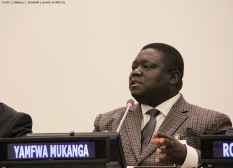 Minister of Transport, Works, Supply and Communications Yamfwa Mukanga stressing a point during a side-event at the UN in New York on 12 June, 2014. PHOTO | CHIBAULA D. SILWAMBA | ZAMBIA UN MISSION