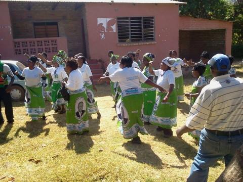 SIGNING AND DANCING, ANTI KABIMBA SONG AT THEIR PF OFFICE — in Kasama, Zambia.