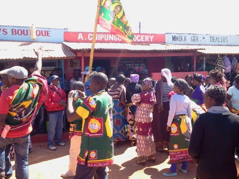 UPND receiving defectors from PF and MMD at their Office in Kasama Chikumanino Market ( 25 June,2014)-