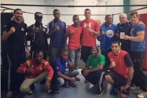 Ahead of the Commonwealth Games next week Ronnie, Danny and Ricky Singh have been spending time in the ring with Zambia's boxing prospects