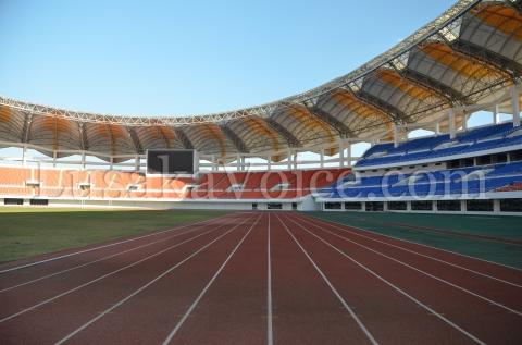 A view from on the track inside the National Heroes Stadium