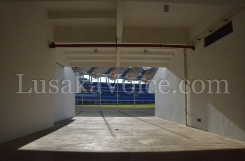 A look through one of the entrance tunnels onto the field