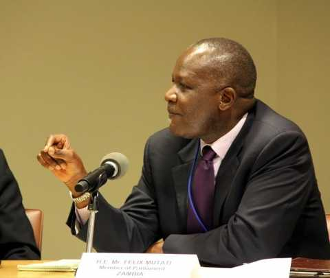 Lunte MP Felix Mutati (2nd right) with Zambia's Deputy Permanent Representative to the UN Christine Kalamwina, on his left, at a panel discussion at UN Headquarters on 10 July, 2014. On his right are Rwanda Finance Minister Claver Gatete, UN Under-Secretary-General Gyan Chandra Acharya and Swiss Agency for Development's Pio Wennubst. PHOTO| CHIBAULA D. SILWAMBA | ZAMBIA UN MISSION