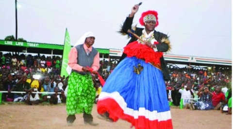 MWATA Kazembe performs the conquest dance during the Mutomboko Ceremony in Mwansabombwe District yesterday. Picture By MOFFAT CHAZINGWA