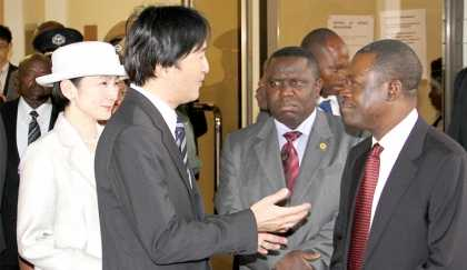 PRINCE Akishino and his wife Kiko with acting President Wynter Kabimba and Foreign Affairs Minister Harry Kalaba (middle) after a meeting at the New Government Complex in Lusaka yesterday. – Picture by MACKSON WASAMUNU.