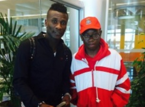 Asamoah Gyan arrived in Zambia on Wednesday afternoon