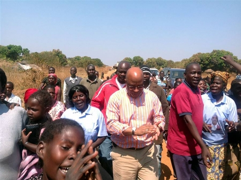 Dr Nevers Mumba arriving in Mangango