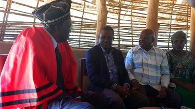 Mr Kabimba with His Royal Highness Chief Munyumbwe at his palace in Gwembe, Southern Province