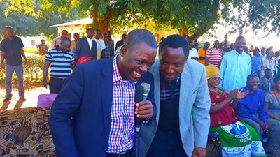 Mr Kabimba with With Sinazongwe Member of Parliament and Western Province Minister Richwell Siamunene