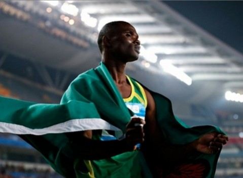 Sydney Siame of Zambia celebrates after the Men's 100m Final of Nanjing 2014 Summer Youth Olympic Games. Photograph: Lintao Zhang/Getty Images