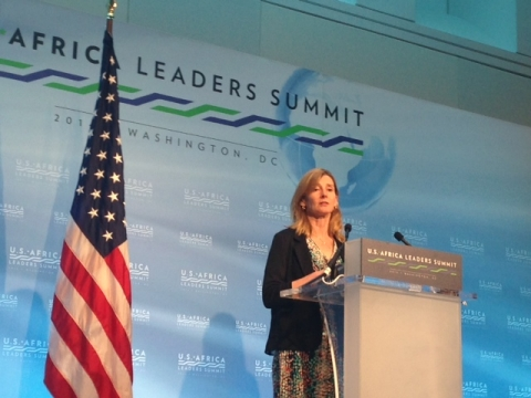 USAID Assistant Administrator for Democracy, Conflict, and Humanitarian Assistance, Nancy Lindborg addressing a news conference