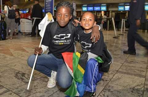 Nokuthula (left) and Mfanelo at OR Tambo International airport moments before taking off to the United Kingdom.