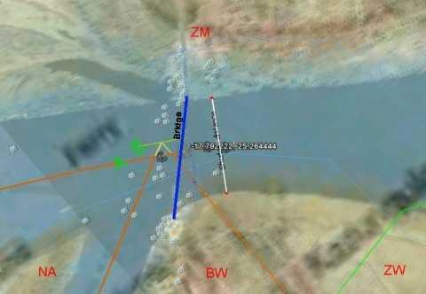 only a tiny part of the projected Zambezi River bridge between Botswana to Zambia