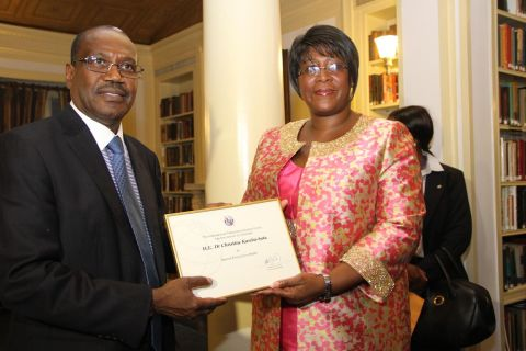 1. First Lady Dr Christine Kaseba with the International Telecommunication Union Secretary General Dr Hamadoun Toure at Yale Club Library where she was inaugurated as the ITU special Envoy for e-Health