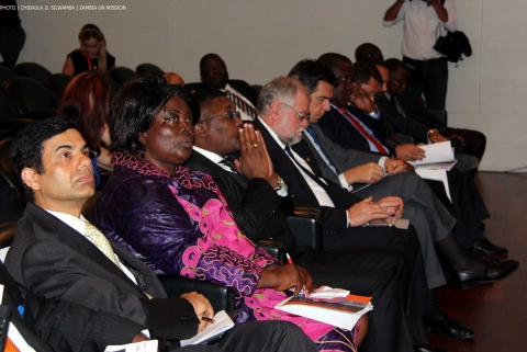 Minister of Tourism and Arts Jean Kapata (second left), UN Under-Secretary-General Gyan Chandra Acharya (left) and other VIPs listening to a presentation at Spanish Mission and Casa Africa organized seminar on Investment and Tourism in Africa on 8 Sept 2014 in New York. PHOTO | Chibaula D. Silwamba | Zambia UN Mission