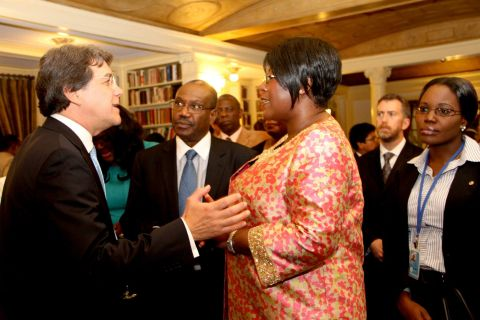 2. First Lady Dr Christine Kaseba listens to Dr Carlos Jarque at Yale Club Library where she was inaugurated as the ITU special Envoy for e-Health