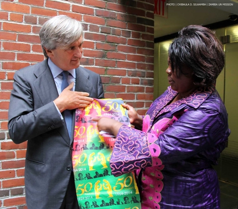 Spain's UN Ambassador Román Oyarzun Marchesi thanks Zambia's Minister of Tourism and Arts Jean Kapata (right) for the Golden Jubilee souvenirs given to him on 8-Sept-2014 in New York. PHOTO | Chibaula D. Silwamba  | Zambia  UN Mission